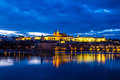 Prague castle and charles bridge prague czech rep evening view of over vltava river republic Stock Images
