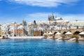 Prague castle and Charles bridge, Prague (UNESCO), Czech republic Royalty Free Stock Photo