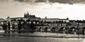 Prague Castle & Charles Bridge before the storm Royalty Free Stock Photo