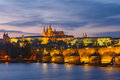 Prague Castle and Charles Bridge at sundown, Czech Republic Royalty Free Stock Photo