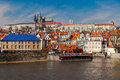 Prague castle in the czech republic a snapshot of from bridge Stock Photography