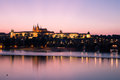 Prague castle image showing the and the carl s bridge from over the river wltava Royalty Free Stock Images