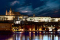 Prague castle at night with reflection on river Royalty Free Stock Photography