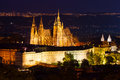 Prague castle in the night time Royalty Free Stock Images