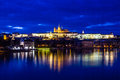 Prague castle over vltava river prague czech rep evening view of republic Royalty Free Stock Images