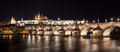 Prague castle panorama of and charles bridge at night Stock Photography