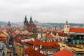 Prague castle and red roofs czech republic Stock Images