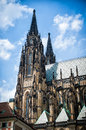 Prague Castle - Saint Vitus Cathedral left fasade Royalty Free Stock Photo