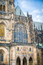 Prague Castle Saint Vitus Cathedral, left view fasade Stock Photos