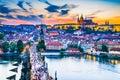 Prague Castle sunset over Charles Bridge, Czech Republic Royalty Free Stock Photo