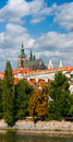 Prague castle and tiled roofs of old Prague Stock Image