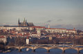 Prague castle and Vltava river Stock Photography