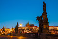 Prague charles bridge in the morning view to Royalty Free Stock Photography