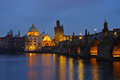 Prague Charles Bridge by night Royalty Free Stock Photo