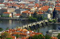 Prague city panorama with charles bridge and river vltava Royalty Free Stock Image