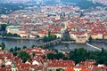 Prague cityscape above the roofs of old central european metropolis modern tourist magnet and capital of the czech republic Royalty Free Stock Image