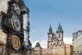 Prague clock astronomical and old town square Royalty Free Stock Photo
