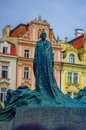 Prague, Czech Republic - 13 August, 2015: Statue of Jan Hus located on old town square, beautiful plaza Royalty Free Stock Photo
