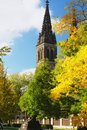 Prague czech republic autumn view of church in Stock Image