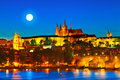 Prague czech republic castle in the evening is often called the golden city Royalty Free Stock Photography