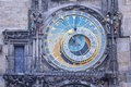 Prague czech republic close view of medieval astronomical clock Royalty Free Stock Image