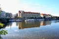 Prague, Czech Republic panorama on turist boats and Vltava river Royalty Free Stock Photo