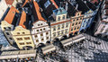 Prague czech republic row houses with traditional red roofs in old town square in the Stock Photo
