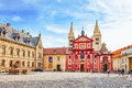 PRAGUE, CZECH REPUBLIC-SEPTEMBER 05, 2015: Area near Cathedral of Saints Vitus.Roman Catholic metropolitan cathedral in Prague, th