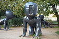 PRAGUE, CZECH REPUBLIC - September 27, 2014: Bizarre crawling baby sculpture by David Cerny