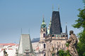 Prague czech republic spires and clock towers of praha the skyline view from the charles bridge Royalty Free Stock Image