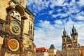 Prague czech republic view of square and astronomical clock Royalty Free Stock Photo