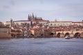 Prague in december charles bridge Stock Photo