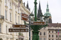 Prague in directions sightseeing direction signs czech republic Royalty Free Stock Photography