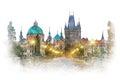 Prague - famous landmark Charles Bridge, watercolor artwork Royalty Free Stock Photo
