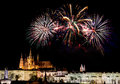 Prague fireworks over castle in night Royalty Free Stock Photography