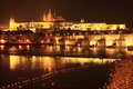 Prague gothic castle with charles bridge in the night czech republic Royalty Free Stock Images