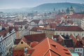 Prague houses red tiled roofs, Czech Republic Royalty Free Stock Image