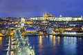 Prague image of capital city of czech republic during twilight blue hour Stock Images