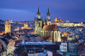 Prague image of capital city of czech republic during twilight blue hour Royalty Free Stock Image
