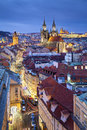 Prague image of capital city of czech republic during twilight blue hour Royalty Free Stock Photography