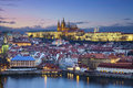Prague image of capital city of czech republic during twilight blue hour Royalty Free Stock Photos