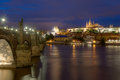 Prague landmark charles bridge the with the castle in the back Royalty Free Stock Photos
