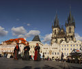 Prague landmark musicians travel in medieval clothes playing on the old town square in czech republic in the historical core of Stock Photos