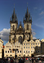 Prague landmark unesco tourists at the old town square in czech republic october Stock Photos