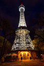 Prague lookout tower with the night illumination on petrin hill Stock Photography