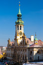 Prague loretta czech republic the loreta the chime of the musical mechanism loreta church has bells that every hour from to hours Stock Image