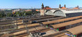 Prague main station panorama of railroad Stock Photos