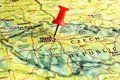 Prague map with pin close up of on a red Stock Image