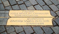 Prague meridian brass sign on pavement markings indicating the line in czech republic the sign can be found on old town square Royalty Free Stock Image
