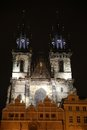 Prague at night building tynchurch in the city Royalty Free Stock Image